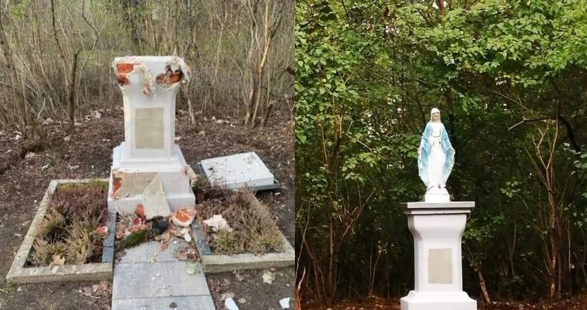 Dewastacja kapliczki w Otwocku