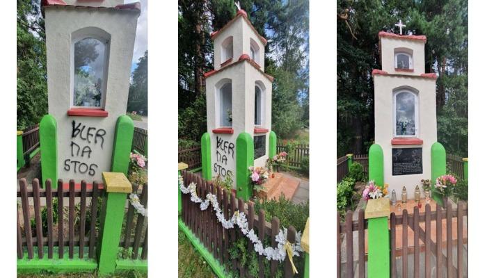 Dewastacja kapliczki w Dębogórze k. Rumii